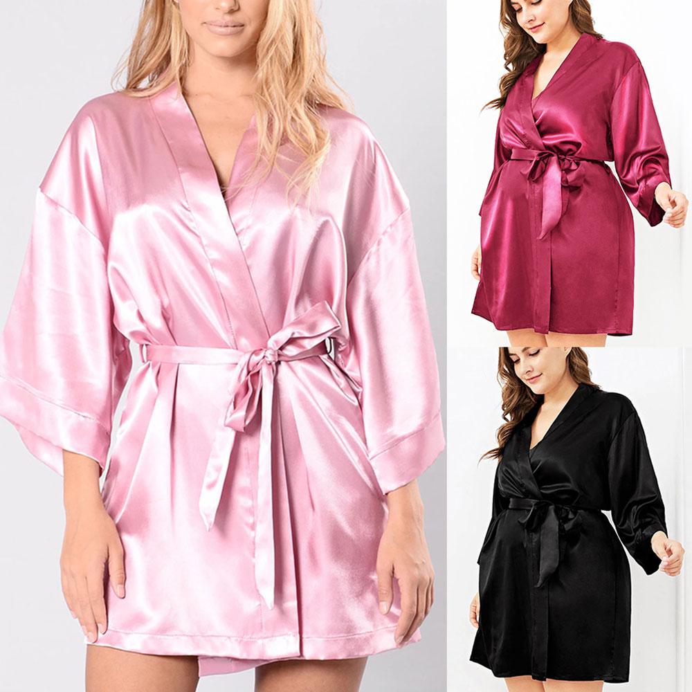 Talla grande de seda para mujer ropa de dormir Albornoz camisón negro de manga larga faja ropa de dormir para mujer vestido de noche para mujer