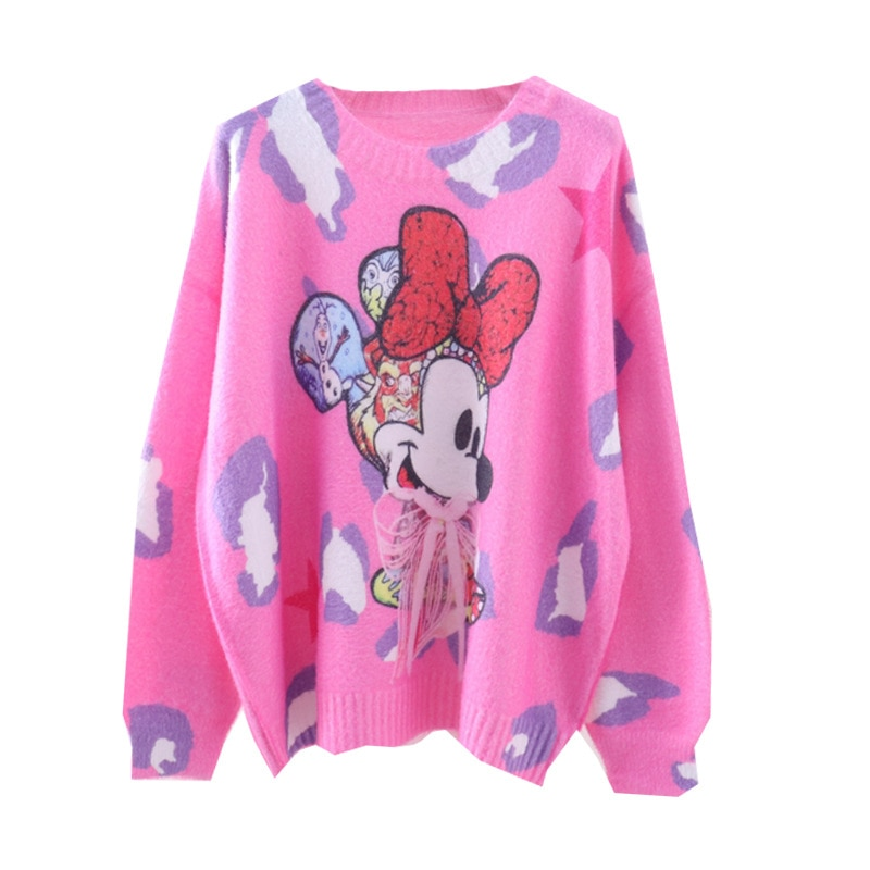 European and American Plus Size Women's Autumn and Winter New Style Cartoon Printing Loose Lazy Sweater Pullover Sweater enlarge