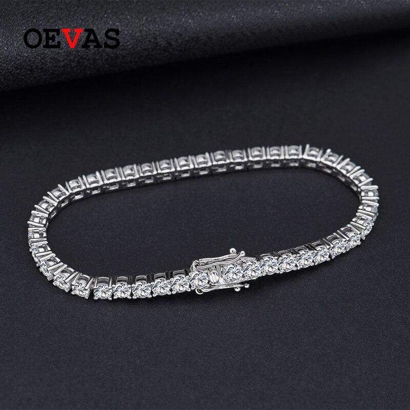 Oevas 100% 925 prata esterlina criado moissanite pedra preciosa pulseira charme pulseira de casamento jóias finas atacado transporte da gota
