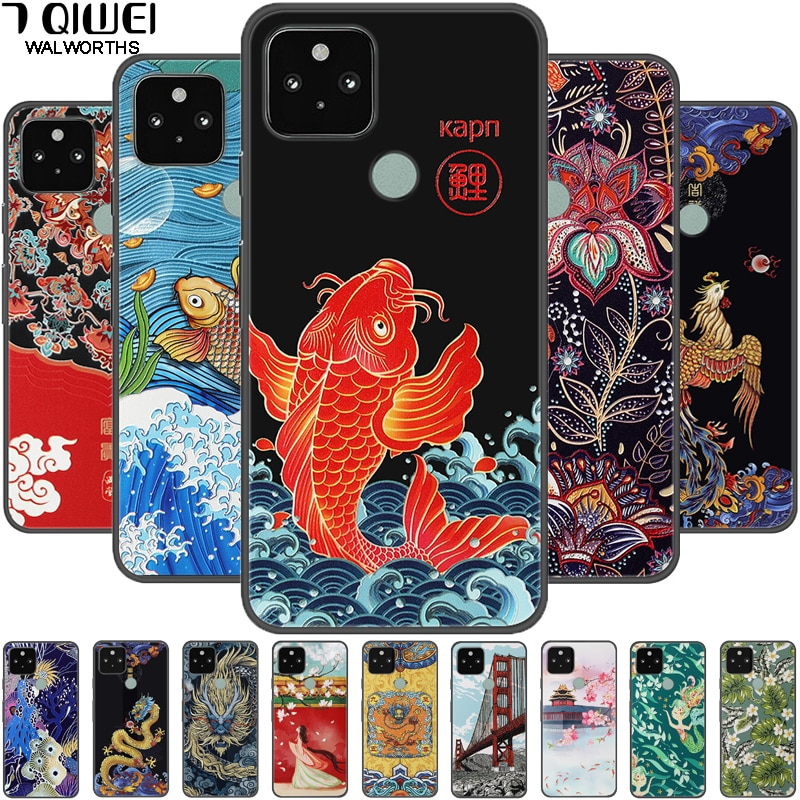 aliexpress.com - For Google Pixel 5 Case 3D Retro Emboss Silicone Phone Cover For Google Pixel 4A / 5 XL / Pixel4A 5G Cover Soft Relief Pixel5
