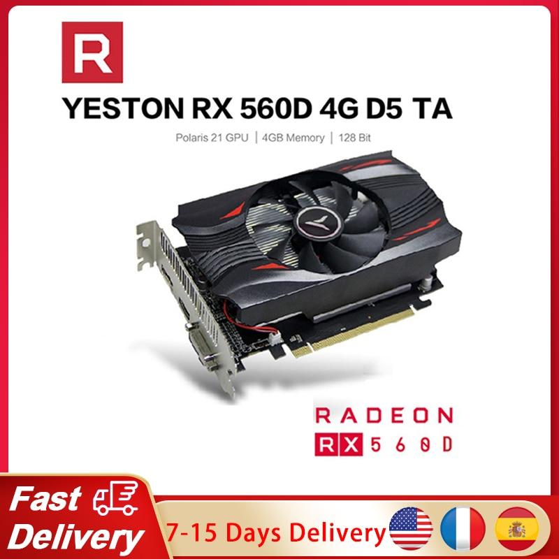 Yeston Radeon RX560D GPU 4GB GDDR5 TA 128bit بطاقات الرسومات الألعاب كمبيوتر مكتبي فيديو VGA/DVI-D/HDMI-متوافق PCI-E 3.0