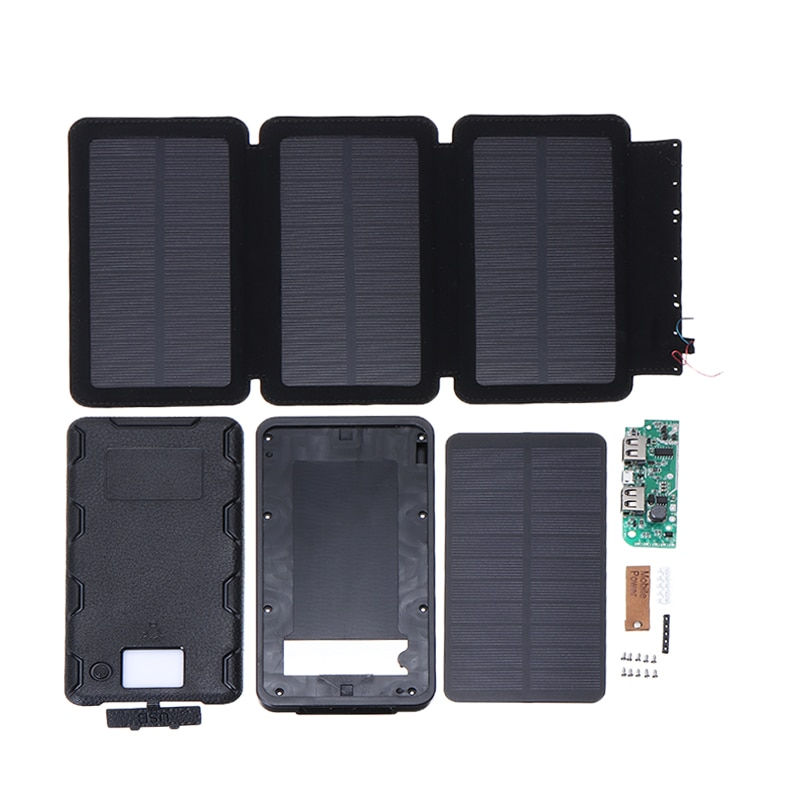 Uniiversal Portable Foldable Solar Panel Charger USB Dual Port 2 3 4 Tablets Solar Power Bank Case For Mobile Cell phone DIY Kit