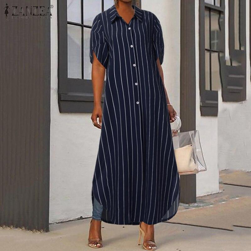 Zanzea vestido longo listrado para verão, m 5xl, estiloso, elegante, feminino, manga bufante curta, 2020