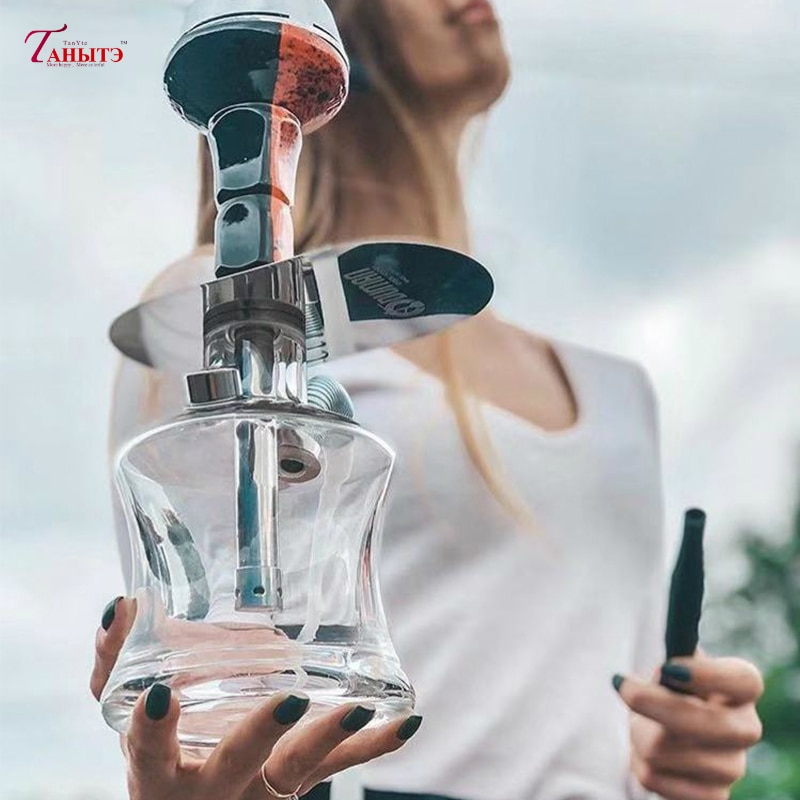 New Portable Shisha Hookah Set With Chicha Ceramics Bowl Cachimba Stainless Tray Narguile Hose For Bar KTV Smoking Accessories enlarge