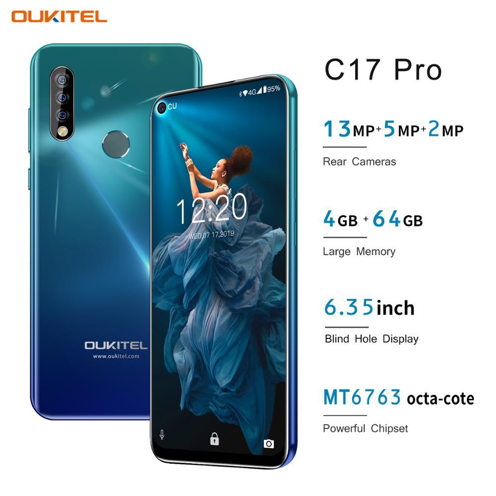 OUKITEL C17 Pro 4GB 64GB Cell Phone 6.35 Tela Cheia Rosto ID de Impressão Digital Android 9.0 13MP Dual câmera 4G Rede 2.4GH 5G Wi-fi