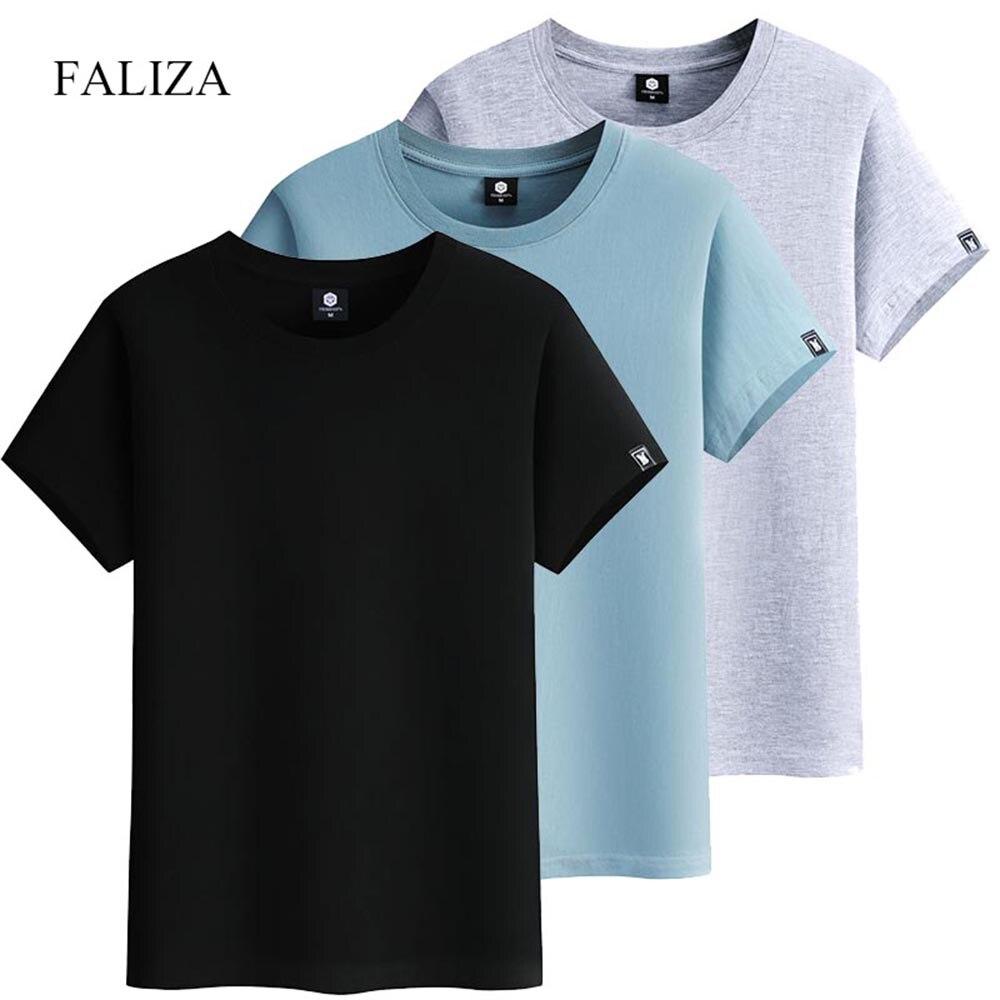 Футболка FALIZA TX154 мужская с короткими рукавами, модная тенниска из хлопка, однотонная повседневная майка, одежда для лета, 3 шт./лот