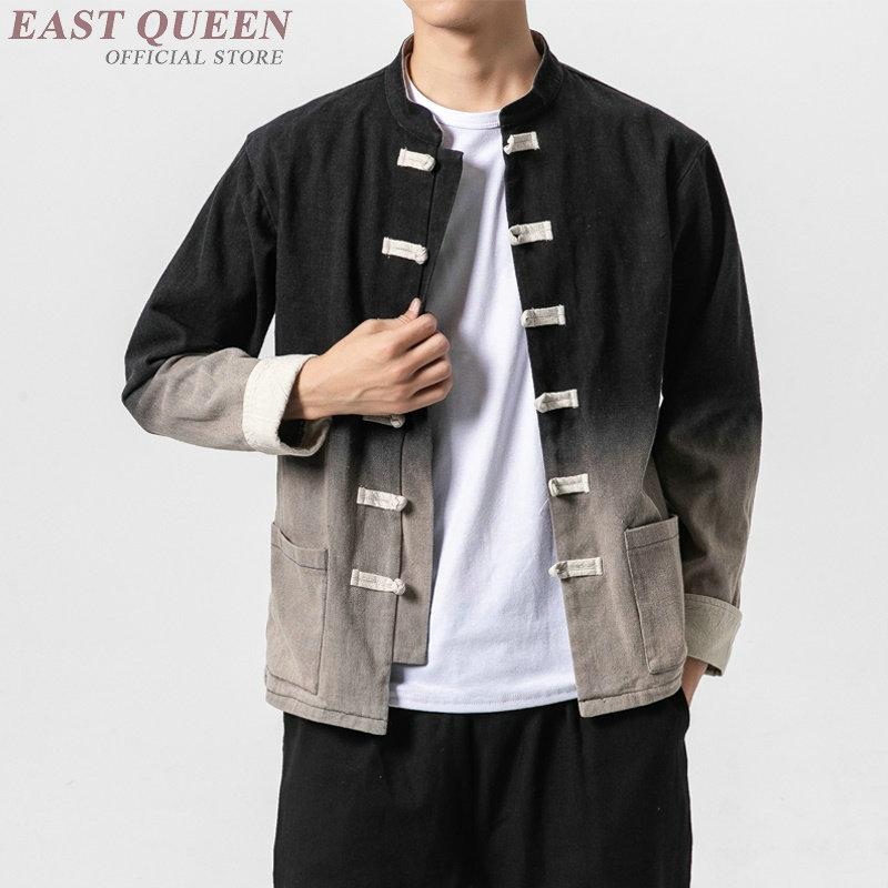 Estilo chino otoño 2019 chaqueta Shanghai traje Tang hanfu chaqueta China mandarín ropa tradicional china para hombre KK2910
