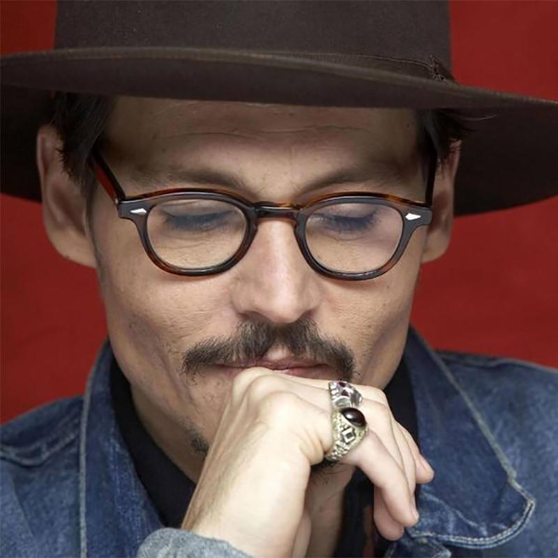 Gafas redondas transparentes ZT Johnny Depp para hombre, gafas de acetato para miopía, gafas graduadas Uv400 de diseñador