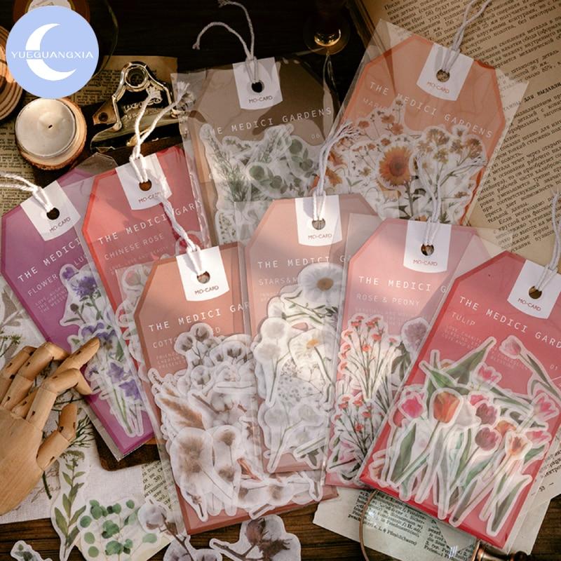 Pegatinas de papel decorativo para jardín YueGuangXia Medici, pegatinas de diario de álbum de recortes, organizador decorativo, accesorios de papelería, 45 unidades/bolsa