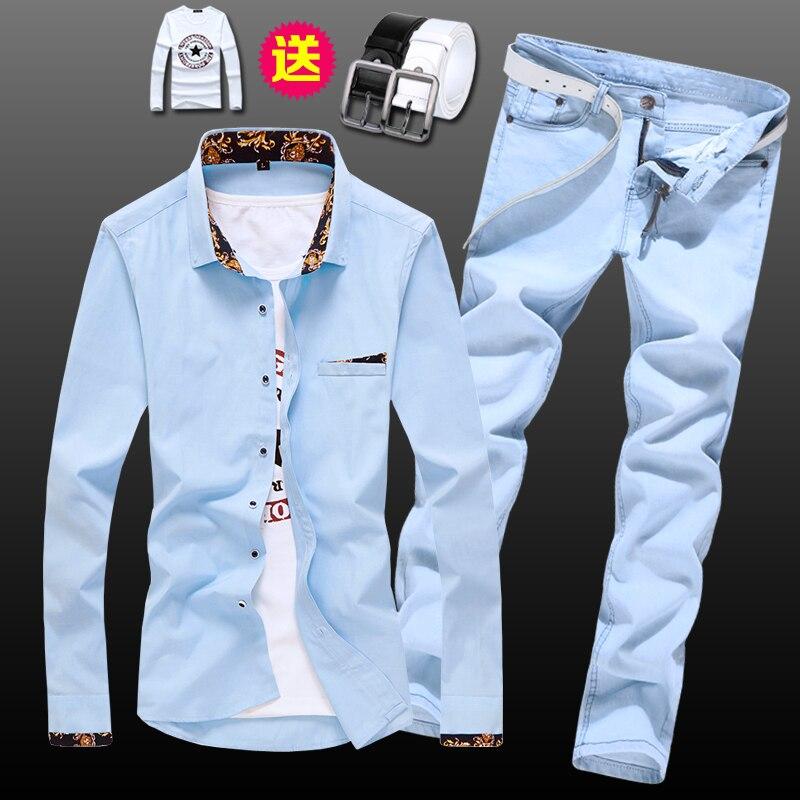 Ilkbahar sonbahar erkek uzun kollu gömlek kalem pantolon kot Slim Fit 2 adet Set rahat gömlek pantolon erkek giyim e53