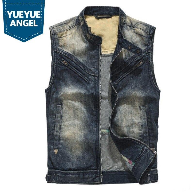 Chaleco vaquero sin mangas para hombre, chaleco Vintage de Moto, chalecos de mezclilla de motorista, chaqueta lavada, ajustado, prendas de vestir, chaleco Punk Jeans Tops