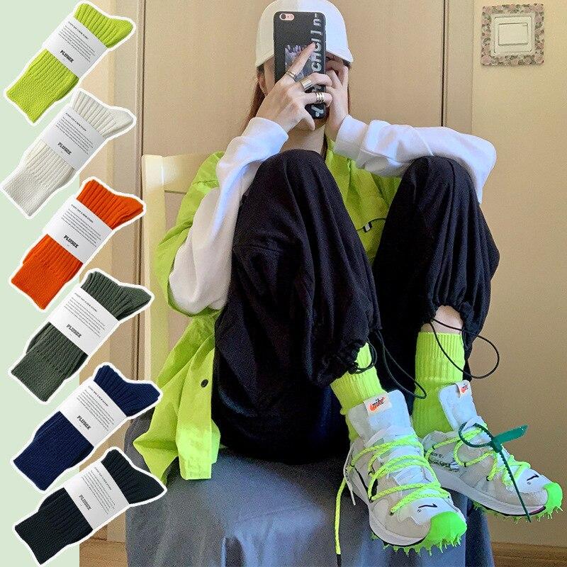 Чулки оранжевые флуоресцентные зеленые мужские и женские толстые модные брендовые носки для женщин осенние и зимние носки с ворсом