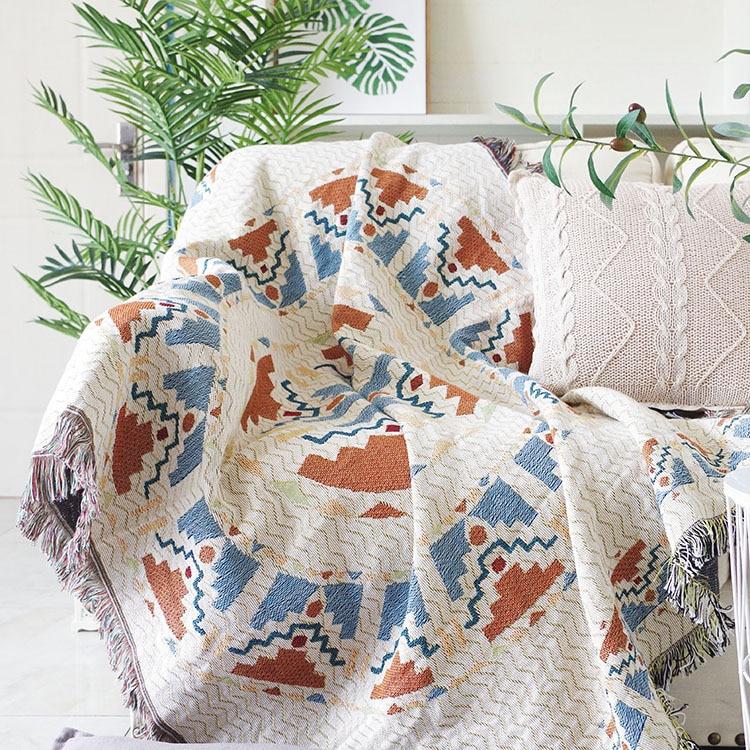 Богемный вязаный диван одеяла для кушетки покрывало скамейка покрывало накидка от солнца Детское покрывало скатерть