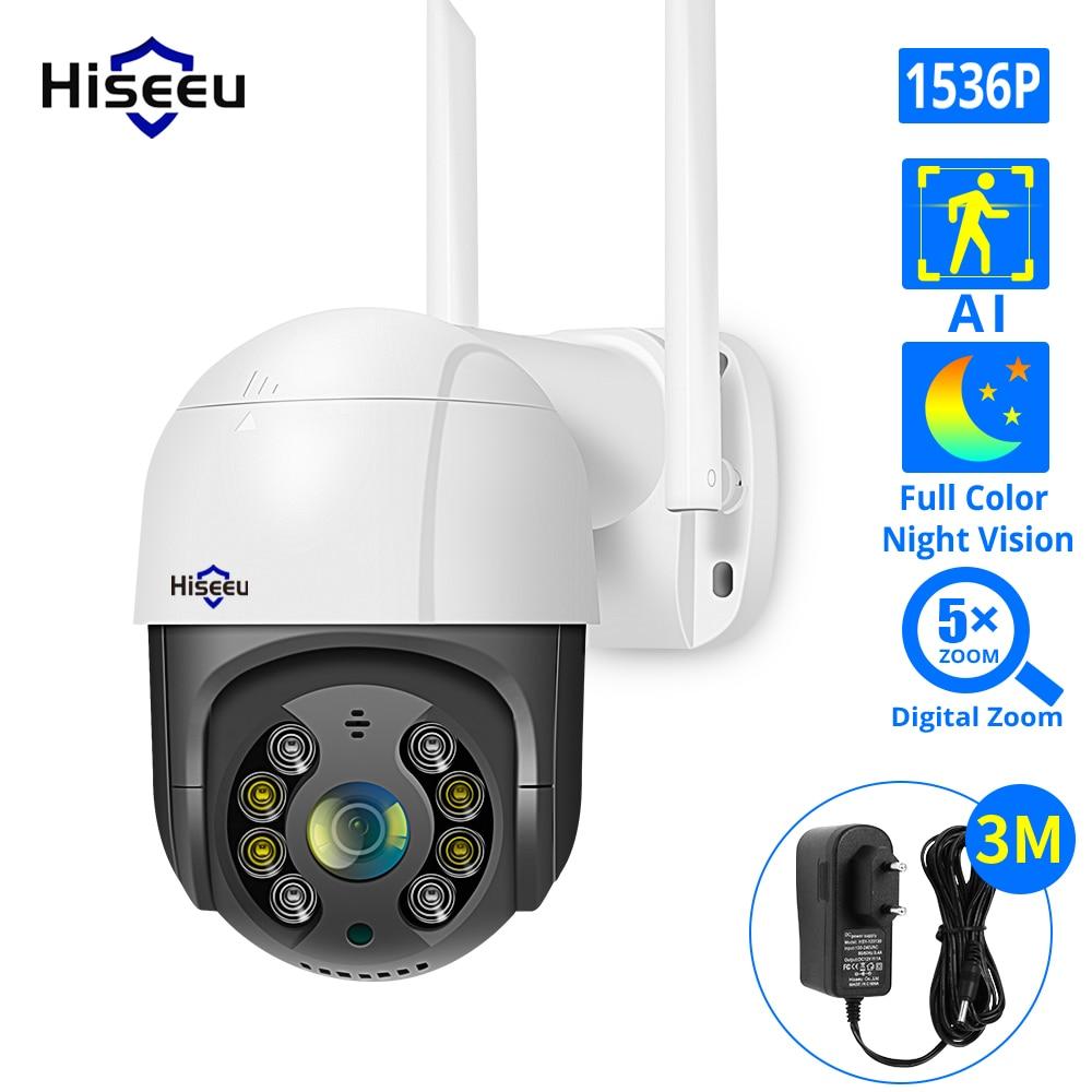 Hiseeu 1536P 1080P Speed Dome Wireless WIFI Camera 2MP 3MP Outdoor 5x Digital Zoom PTZ IP Camera Audio CCTV Surveillance