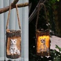 solar garden light led resin animal statue decorative hanging lantern landscape night light with handle for outdoor decoration