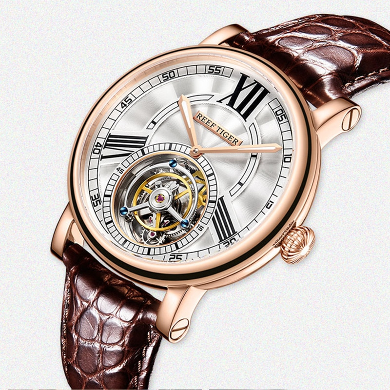 Reef Tiger/RT Brand Men's Casual Designer Watch Luxury Rose Gold Tourbillon Automatic Mechanical Alligator Strap Watches RGA1999
