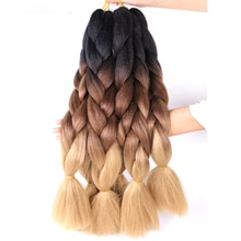 Jumbo Braiding Hair Extensions Kanekalon Braiding Hair 24 Inch Ombre Multiple Tone Colored Synthetic