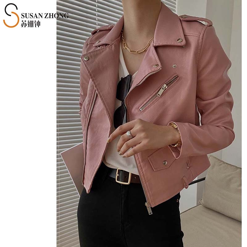 Women Short Coat Female Faux Leather Jackets PU Biker Style Autumn Winter Turn-Down Collar Zippers Belt Color Pocket Buckle Sexy