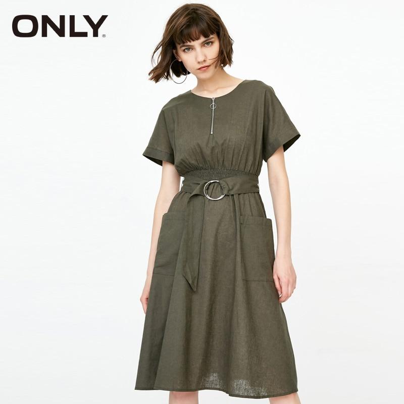 Sólo primavera encaje-up cintura de lino de manga corta vestido   118307511
