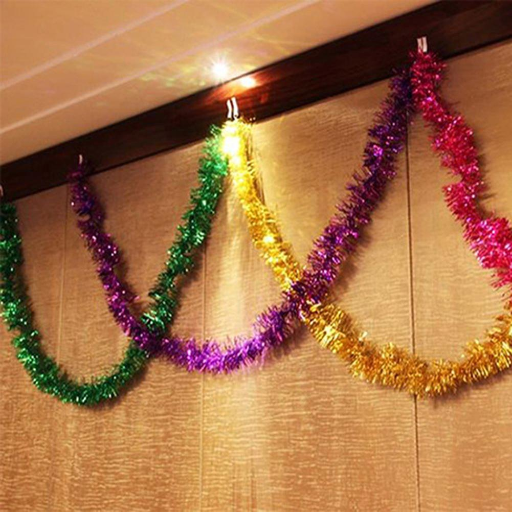 Dropshipping 2M Christmas Garland Home Party Wall Door Decor Christmas Tree Ornaments Tinsel Strips Party Supplies