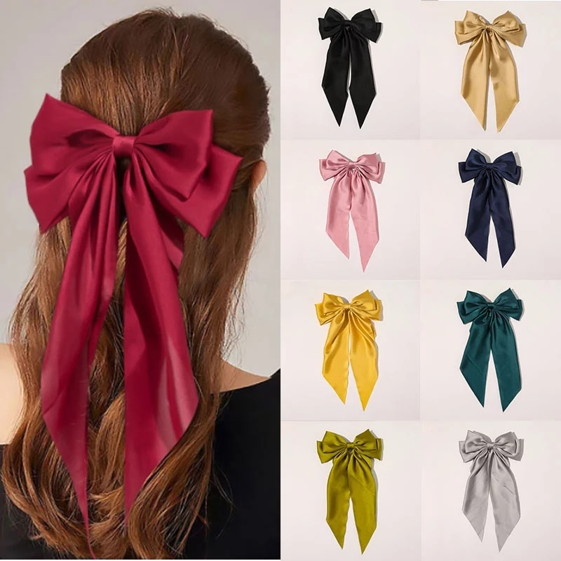 2021 duas camadas bowknot streamer hairpin mulher meninas fita de cetim barrette arco volta cabeça primavera clip headwear acessórios para o cabelo