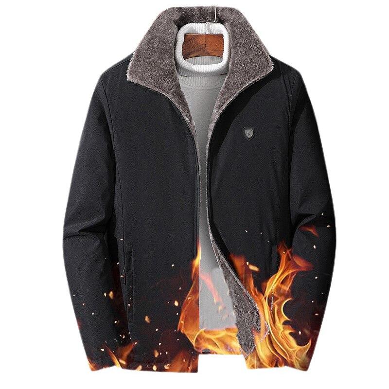 Утепленная флисовая парка, куртки для мужчин с меховым воротником на молнии, Зимние холодные пальто, мужские ветровки с хлопковой подкладко...