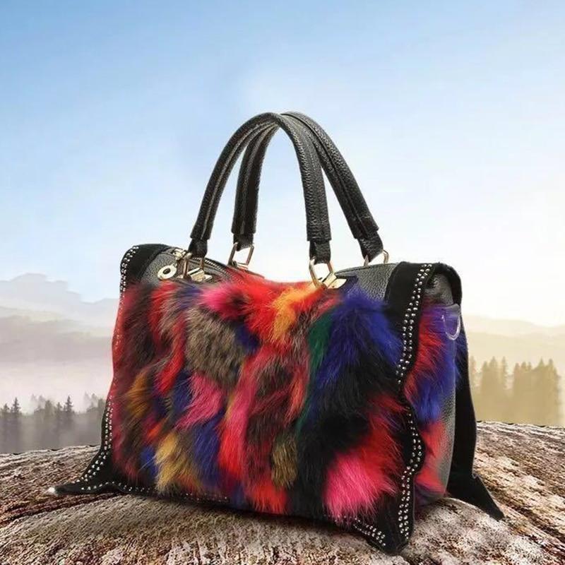 Luxury handbags Women Bags Designer Winter Fur Fashion Shoulder Bag Ladies Seven Colored Fox Fur Rabbit Fur Messenger Bags bolso