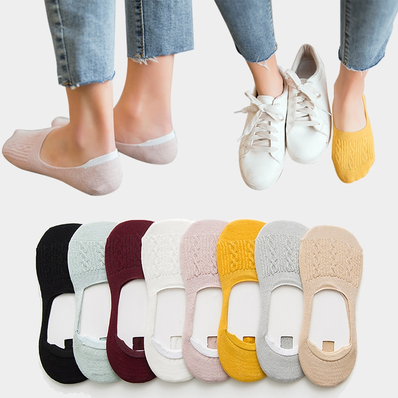 5 Pairs Women Cotton Low Cut Socks Solid Snowflake Softable Summer Silicone Non-slip Deep Mouth Prevent Heel Loss Slipper Socks
