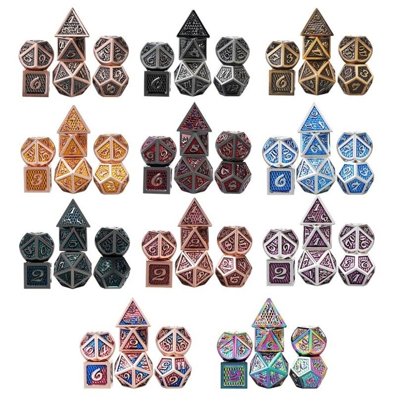 7 шт./компл. набор металлических игральных костей для ролевых игр MTG DND металлические многогранные кости для ролевых игр