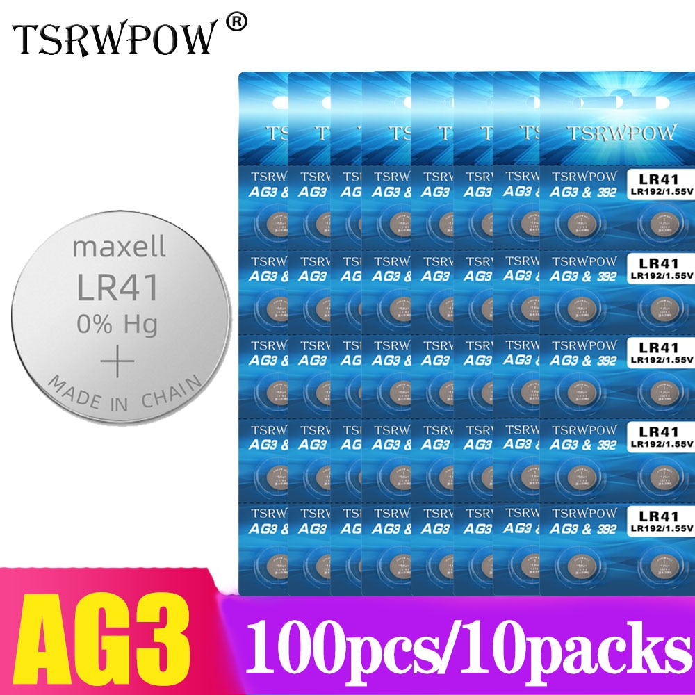 TSRWPOW 100PCS/10PACKS AG3 G3A L736 192 LR41 392 Lithium Battery 1.55V Cell Coin Lithium Battery Batteries AG3 For Watch Toys