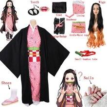 Disfraz de Demon Slayer para mujer adulta, Cosplay completo de Kimetsu no Yaiba, Kamado, Nezuko, incluye zapatos, peluca, diente, boca, palo