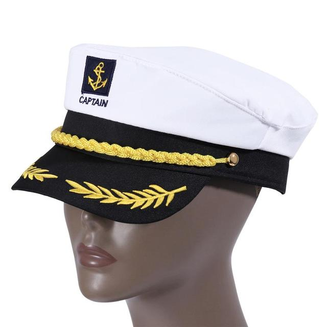 Adult Yacht Boat Ship Sailor Captain Costume Hat Cap Navy Marine Admiral Embroidered Captain'S Cap (White) 4