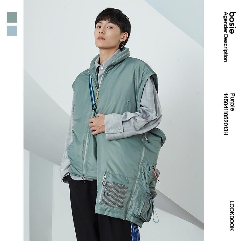 Ishizukawa winter new down jacket man couple personality stitching fashion warm loose coat removable sleeve top women 2013H