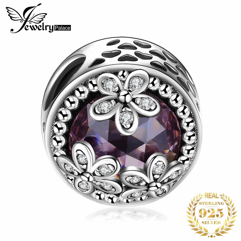 JewelryPalace auténtica Plata de Ley 925 espumosos margaritas Cubic Zirconia Charm pulsera fina joyería
