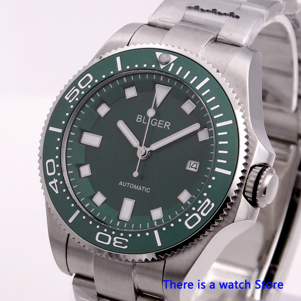 Bliger 43mm reloj de pulsera mecánico automático para hombre reloj de negocios de lujo reloj de pulsera luminoso de cristal de zafiro para hombre