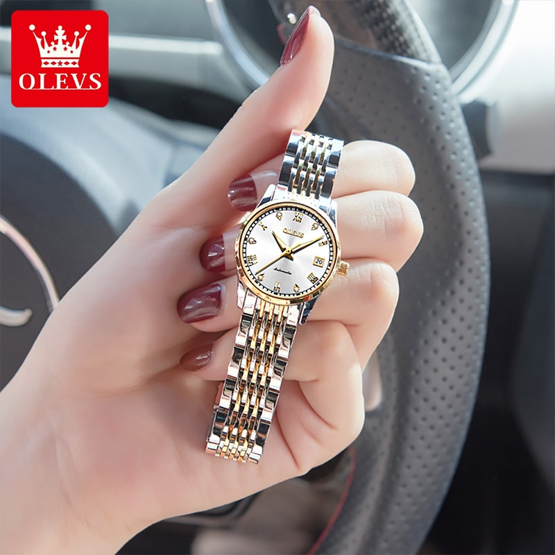 OLEVS 2021 New Fashion Ladies Automatic Mechanical Dial Watches Diamond HD Luminous 30M Life Waterproof Silver White Watch 6602 enlarge