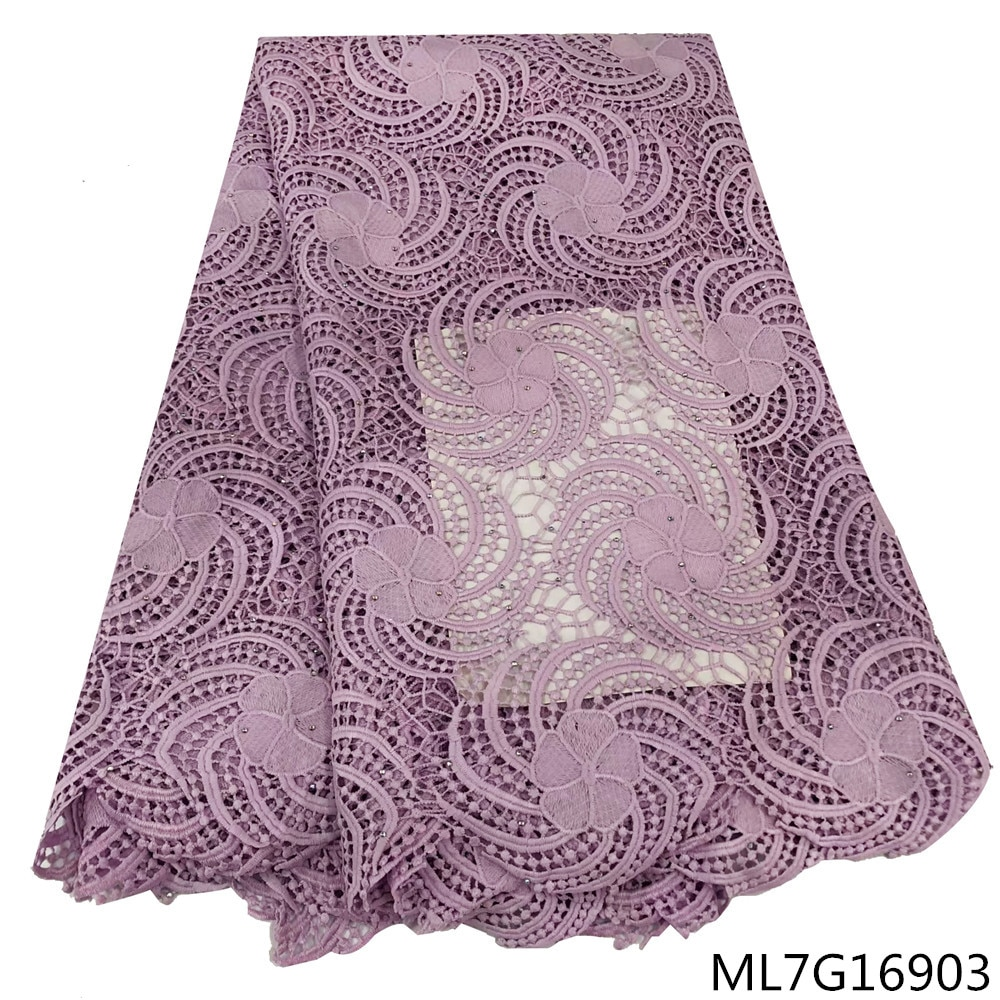 BEAUTIFICAL lace fabrics 5 yards new arrival embroidery cord lace guipure nigerian material lace ML7G169