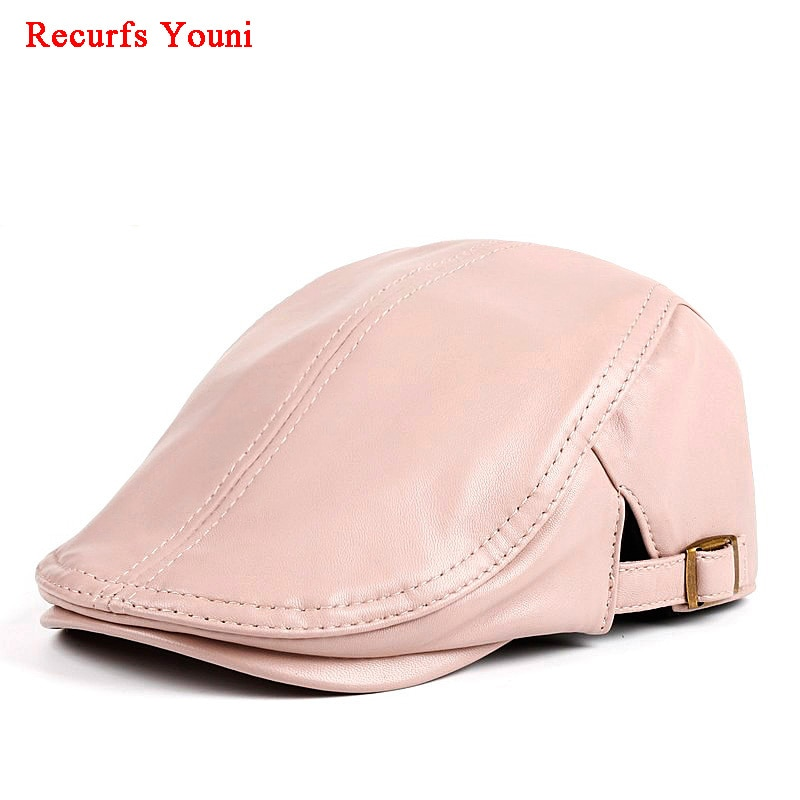 Caliente RY9119 invierno mujeres cuero genuino fino Boina sombreros señoras moda coreana Boina rosa/rojo/blanco gorras Mujer casual gorra