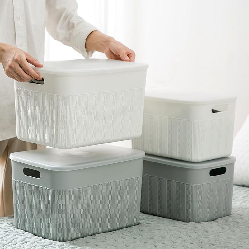 Caja de almacenamiento de plástico portátil con tapa, cesta de almacenamiento de ropa, artículos de escritorio para el hogar, organizador de aperitivos y aperitivos, caja de almacenamiento mx10141123