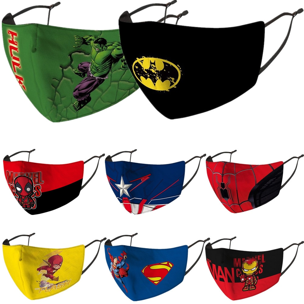 Bruce Wayne Bruce Banner Peter Parker Clark Kent Cosplay Costume Superhero Face Mask Dustproof Kids
