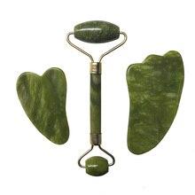 Jade Roller Facial Massage Tool Set Natural Stone Face Massager Guasha Massage Board Gouache Scraper Jade Roller And Guasha Kit
