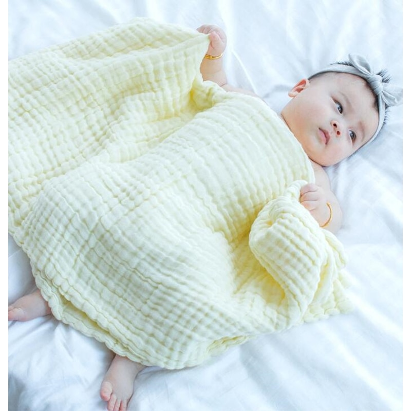 MYUDI PLAIN COLOR Baby Blanket Cotton Soft Kids Month Blankets Newborn Swaddle Infant Wrap Girl Boy Stroller Cover Inbakeren
