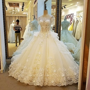 Sexy Bridal Lace Applique Luxury Crystal Robe De Marriage 2020 A line Wedding Dresses Plus Size Bride Dress Vestidos De Novia