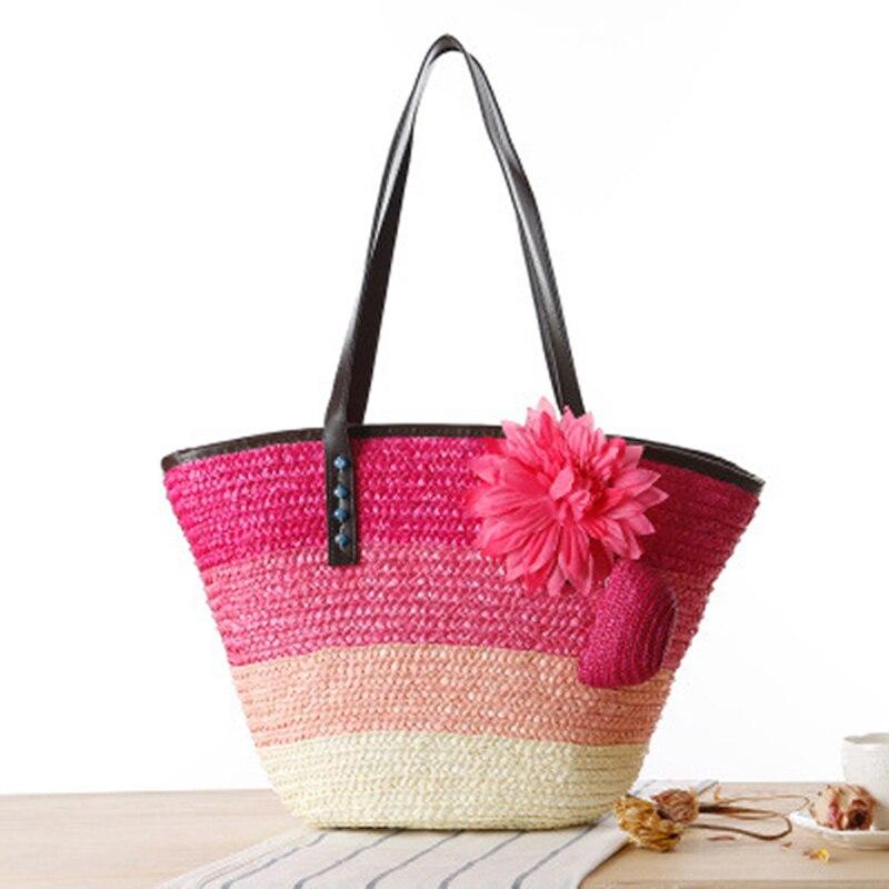 Bolsos de paja para mujer, bandoleras a rayas de color bohemio con flores, bolsos de playa bohemios para mujer, bolsas grandes de mano