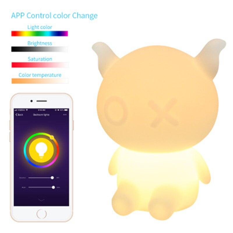 Amazon ALEX Assistant dessin animé intelligent coloré veilleuse commande vocale WiFi réveil synchronisation LED Pat ours lampe livraison gratuite