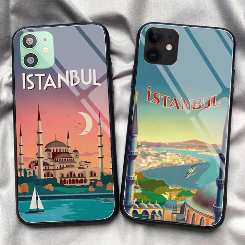 Turkey Istanbul travel poster Phone Case Tempered Glass For iPhone 11 Pro XR XS MAX 8 X 7 6S 6 Plus SE 2020 12 Pro Max Mini case