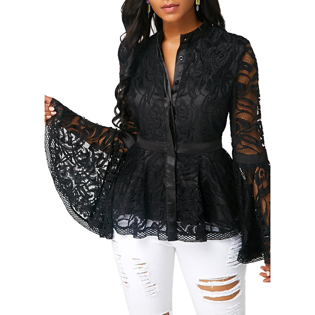 Plus Size Women Mesh Blouse Fashion See-through Lace Long Flare Sleeve Blouse Slim Fits Top Mesh Sheer Blouse Black Shirt Female plus guipure lace insert semi sheer blouse