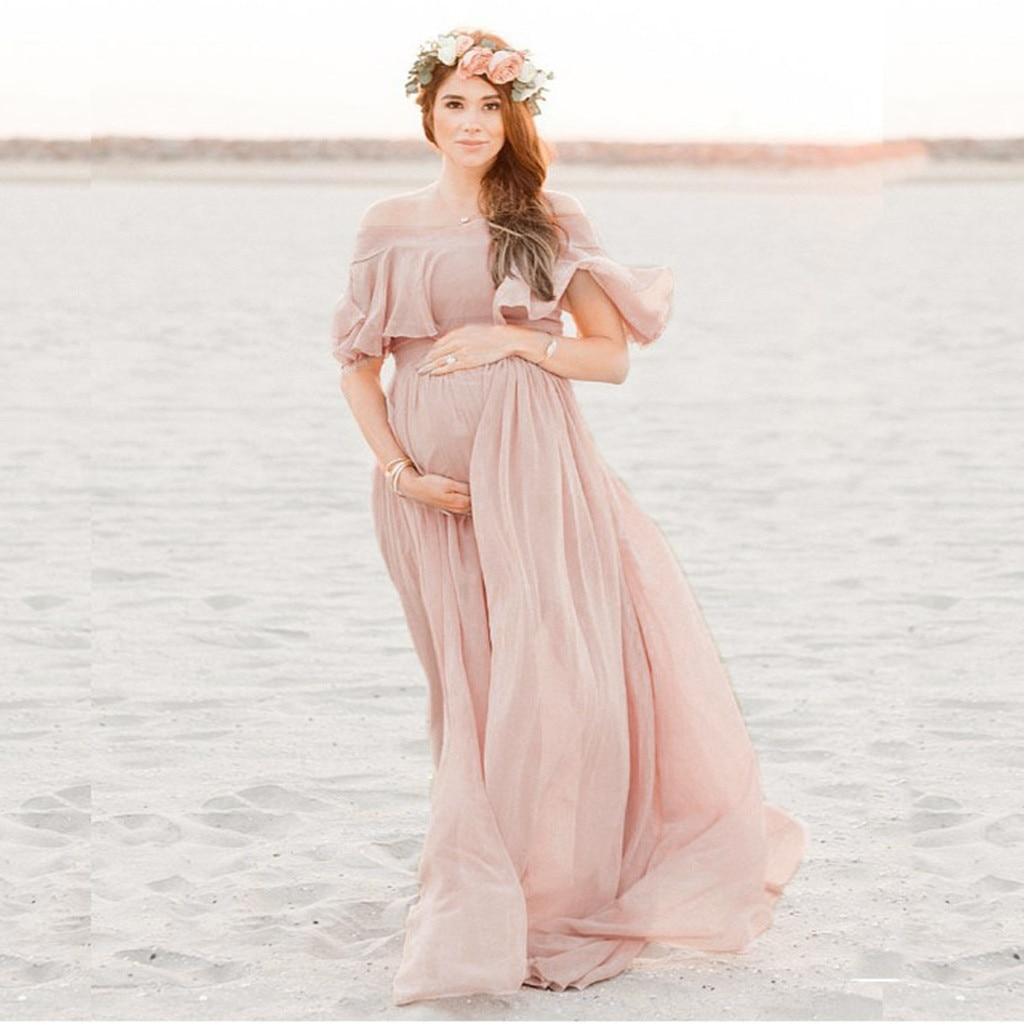 ملابس للحمل للصور تبادل لاطلاق النار الشيفون فستان الحمل التصوير الدعائم ماكسي فستان سهرة للحوامل ملابس حريمي 2020New