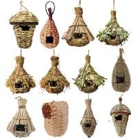 Клетка для птиц, подвесное гнездо из натуральной травы, яйцо, 14 стилей, уличная декоративная плетеная подвесная клетка для питомцев, спальни...