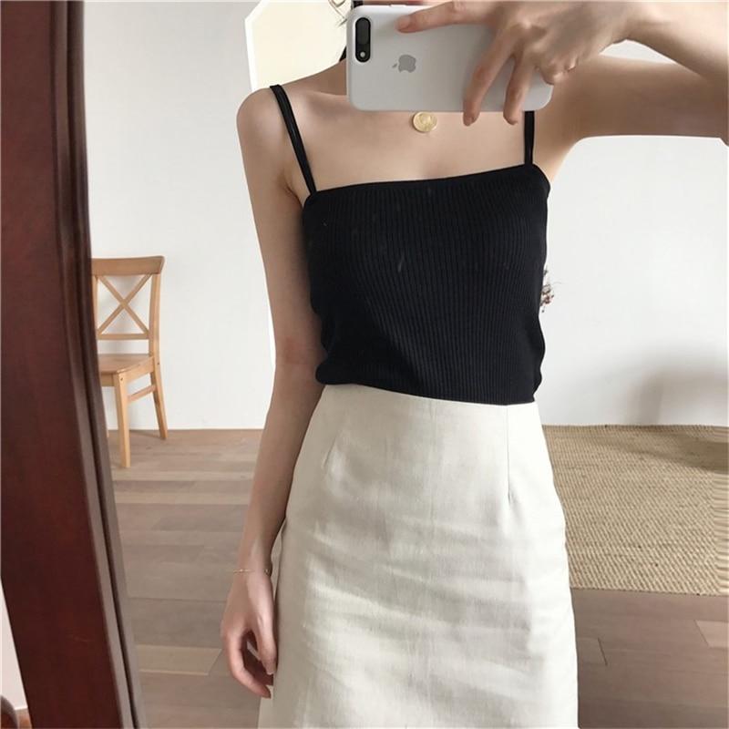 H592bf21d0a1b45248307ce318cc156e0d - Summer Korean Sleeveless Basic Solid Camisole